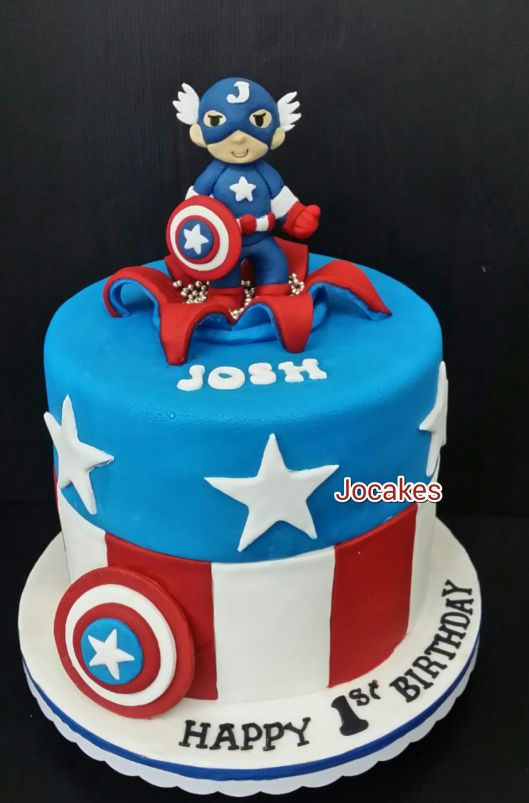 Superb Captain America First Birthday Cake Captain America