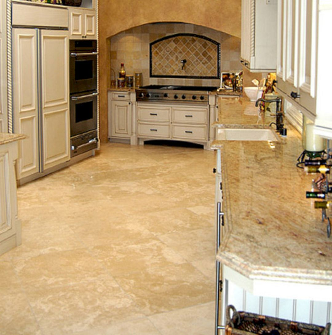 25 Incredible Kitchen Floor Design With Stone Floor Ideas Travertine Kitchen Floors Stone Flooring Travertine Floor Tile