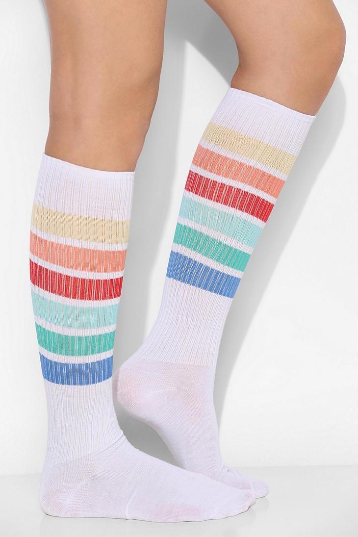 Girls Womens Rainbow American Flag Over Knee Thigh High Stockings Cute Socks One Size