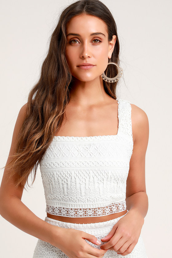 White Lace Overlay Lace-Up Front Smocked Back Bra Top Cami