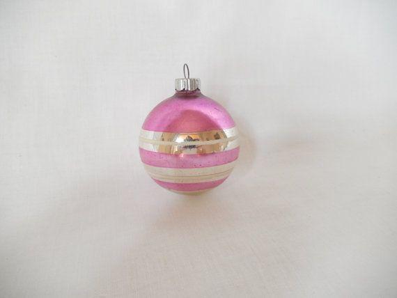 vintage glass ornament Shiny Brite pink and by vintagebyclaudine, $7.95