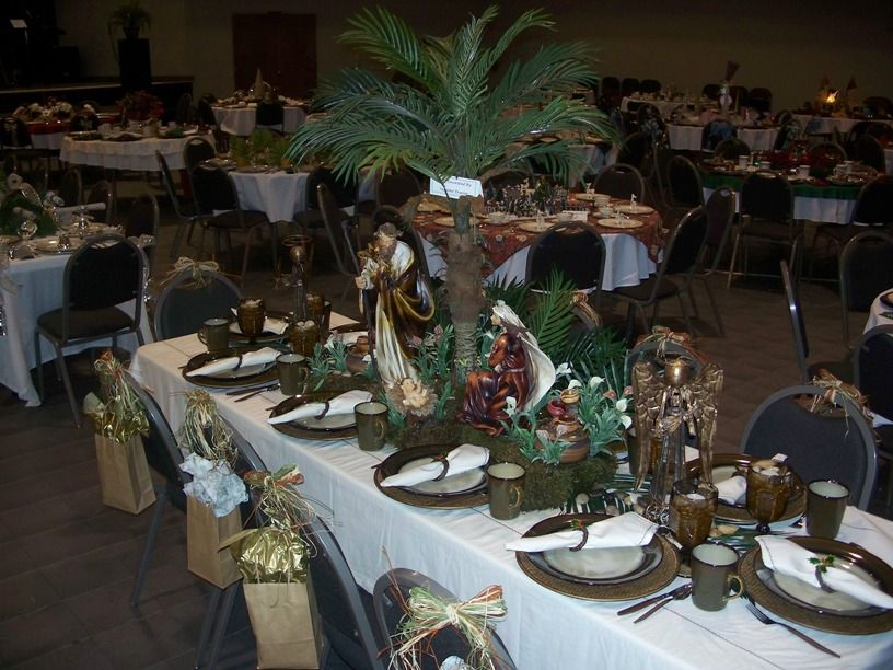 Beautiful Nativity Themed Tablescape Love The Palm Tree Christmas Table Centerpieces Table Centerpiece Decorations Christmas Table