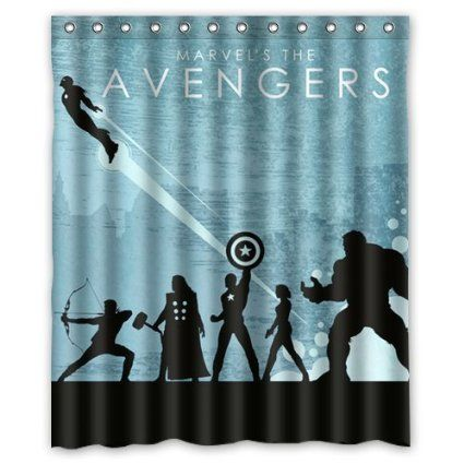 Custom Unique Design Anime Superhero The Avengers Waterproof Fabric Shower Curtain 72 By 60 Inch