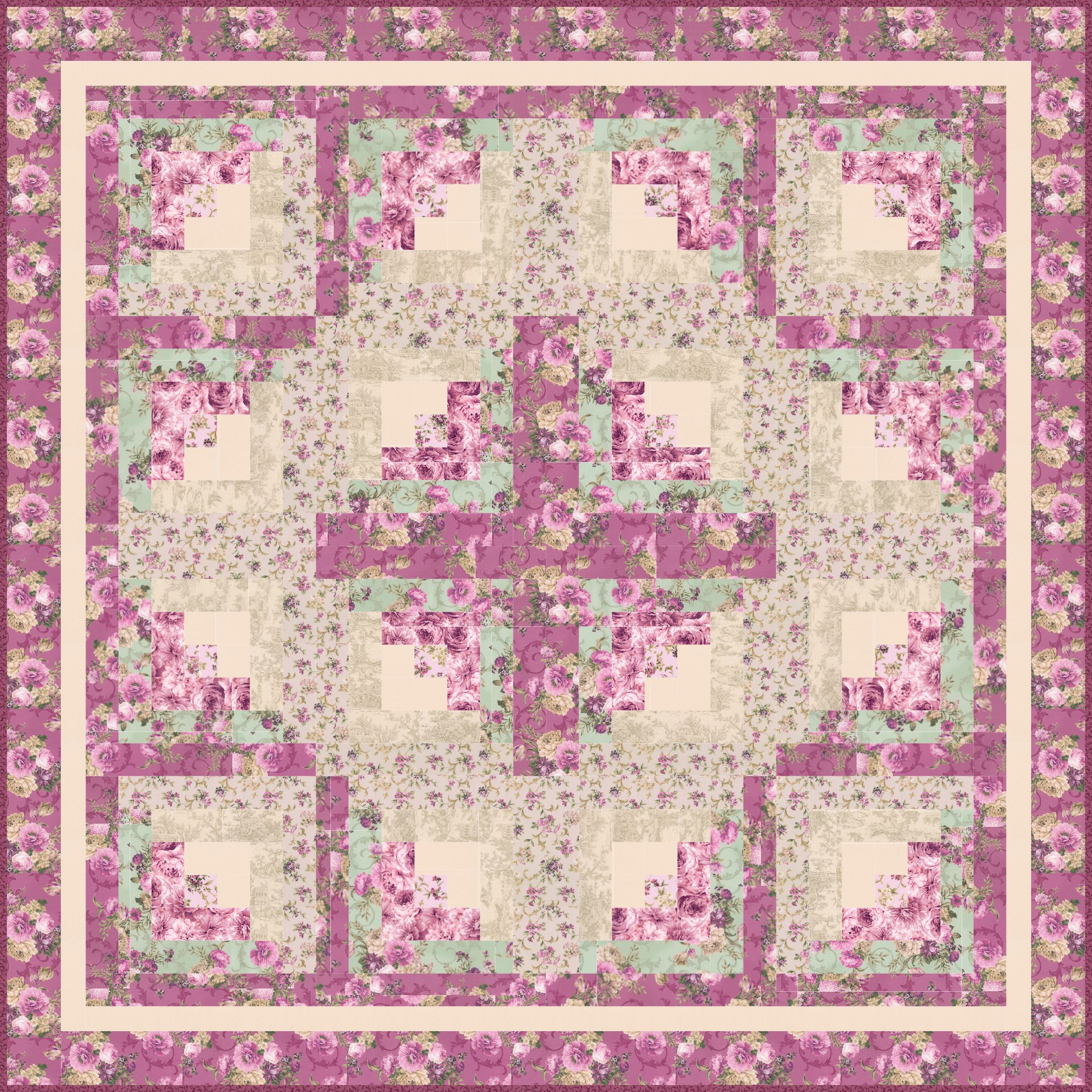 Free Patterns Floral Cabins Designed By Ariga Mahmoudlou For Robert Kaufman Features Meredith By Studio Rk Quilt Patterns Free Quilt Patterns Free Quilting