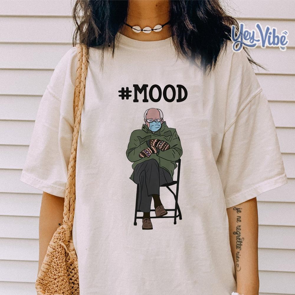 Meme Mittens Bernie Sanders Mittens Mood Shirt Office Tee In 2021 Popular Tee Mood Shirts Shirts