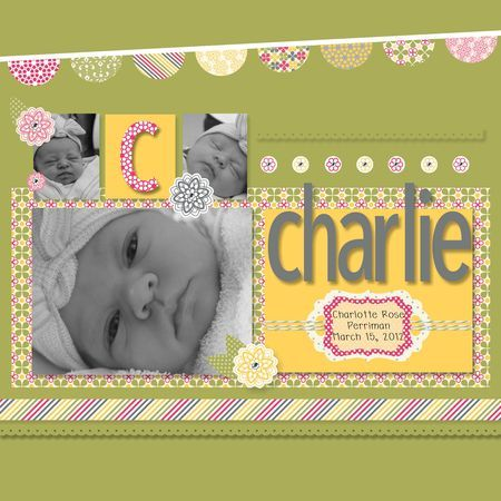Fun, 3 photo scrapbook baby page created by Jeanna Bohanon with My Digital Studio by Stampin' Up!