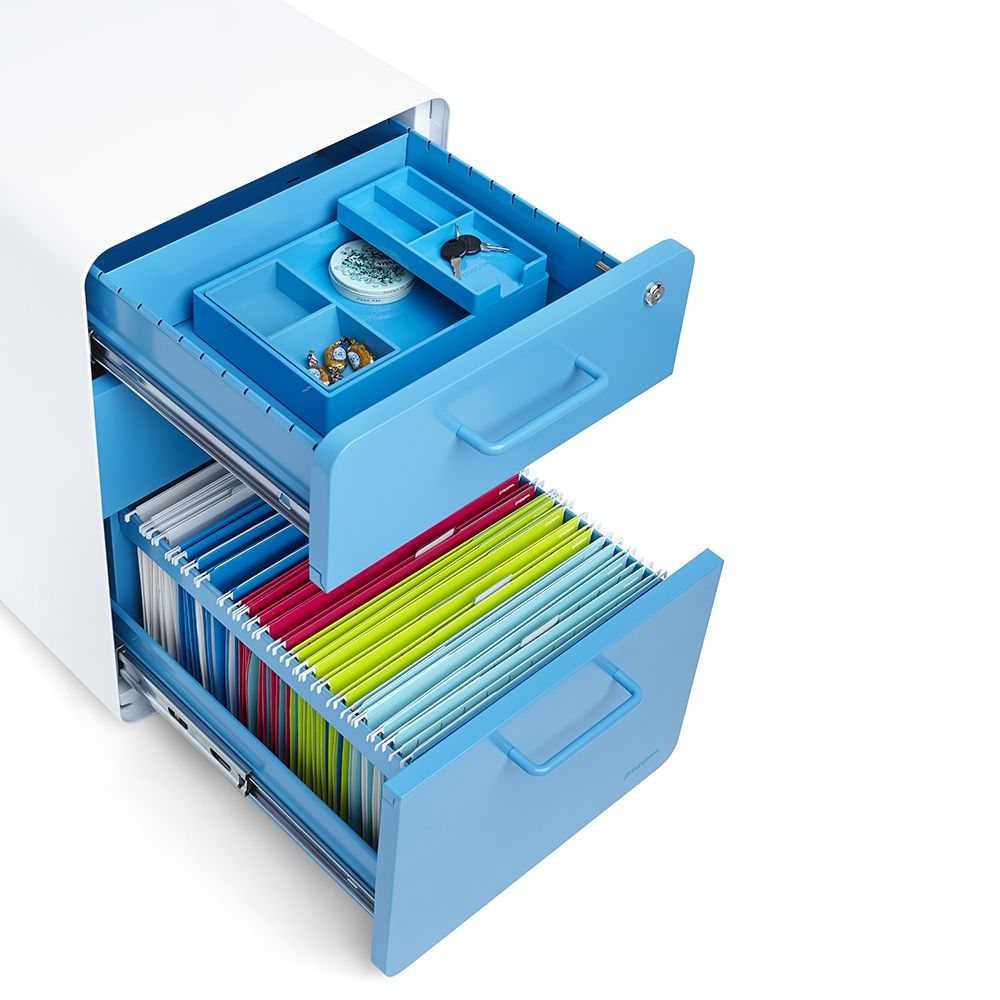 Unique Office Desk Accessories. Poppin White + Pool Blue Stow 3 Drawer  Rolling File