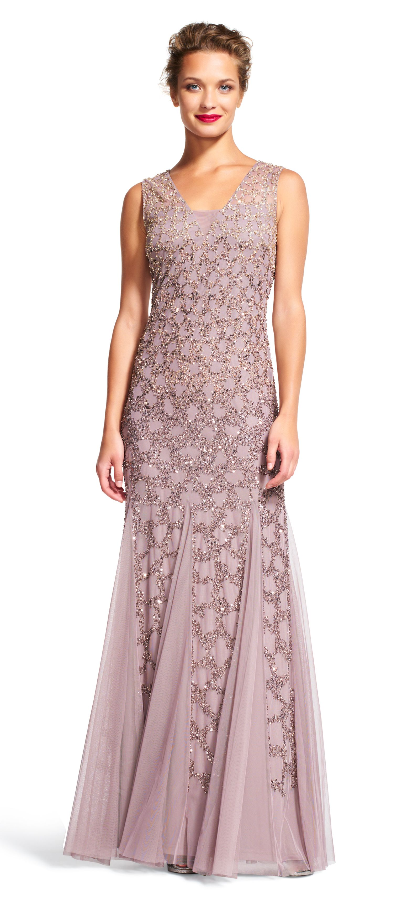 540865b4309c Beaded Gown Stone Brown 15995 Evening Dress October 2016