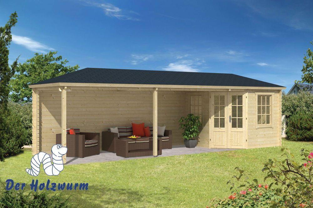45 mm Gartenhaus 790x250cm Blockhaus Gerätehaus Holzhaus Holz