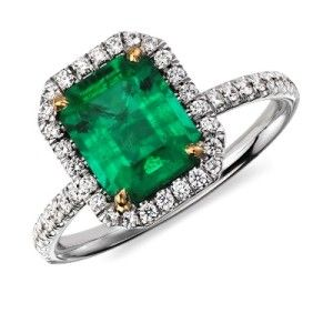Emerald Green Wedding Ring Set Splendid 2 19 Ct Engagement Rings With Diamond Pave Setting