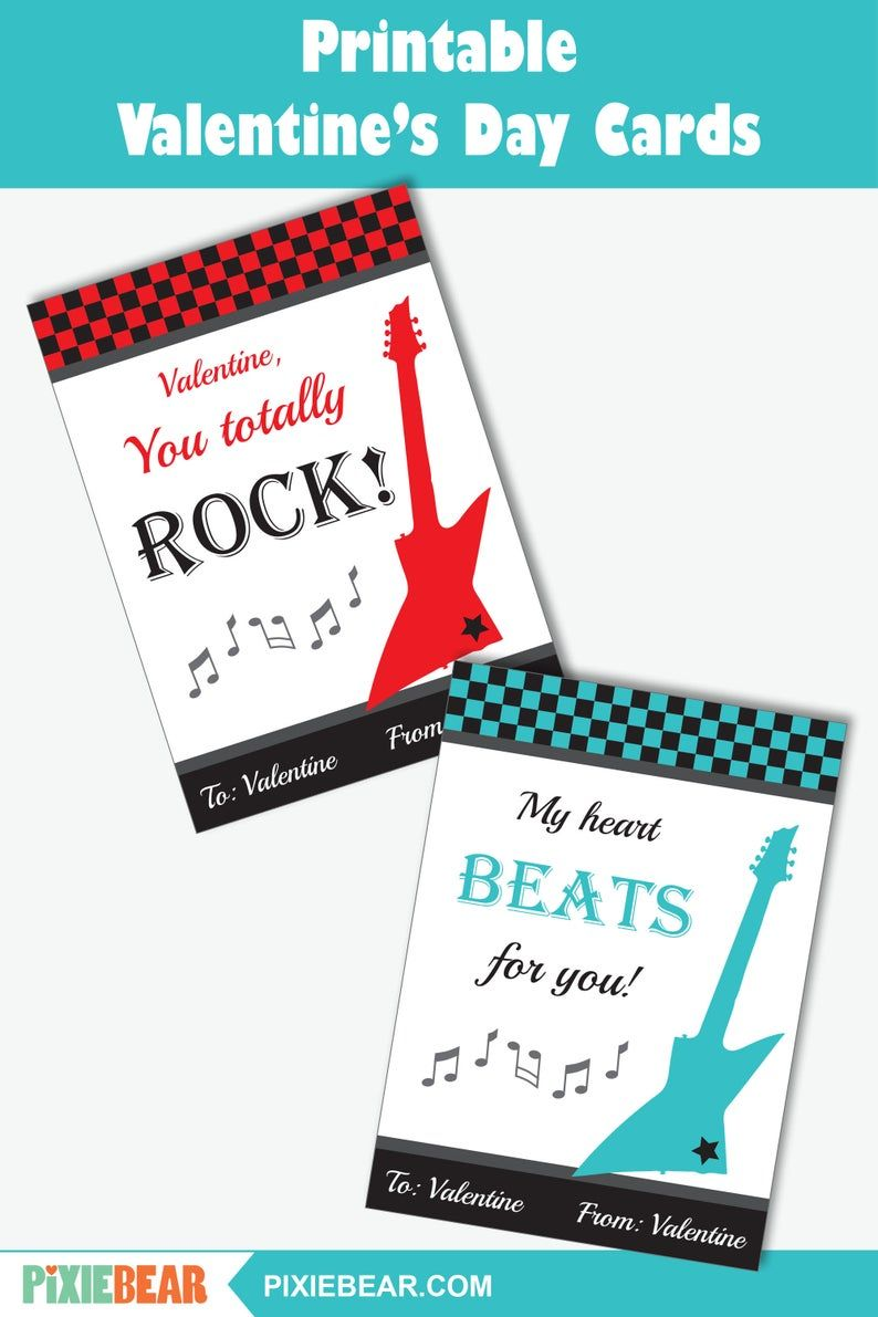 Guitar Valentine S Day Cards For Kids Printable Music