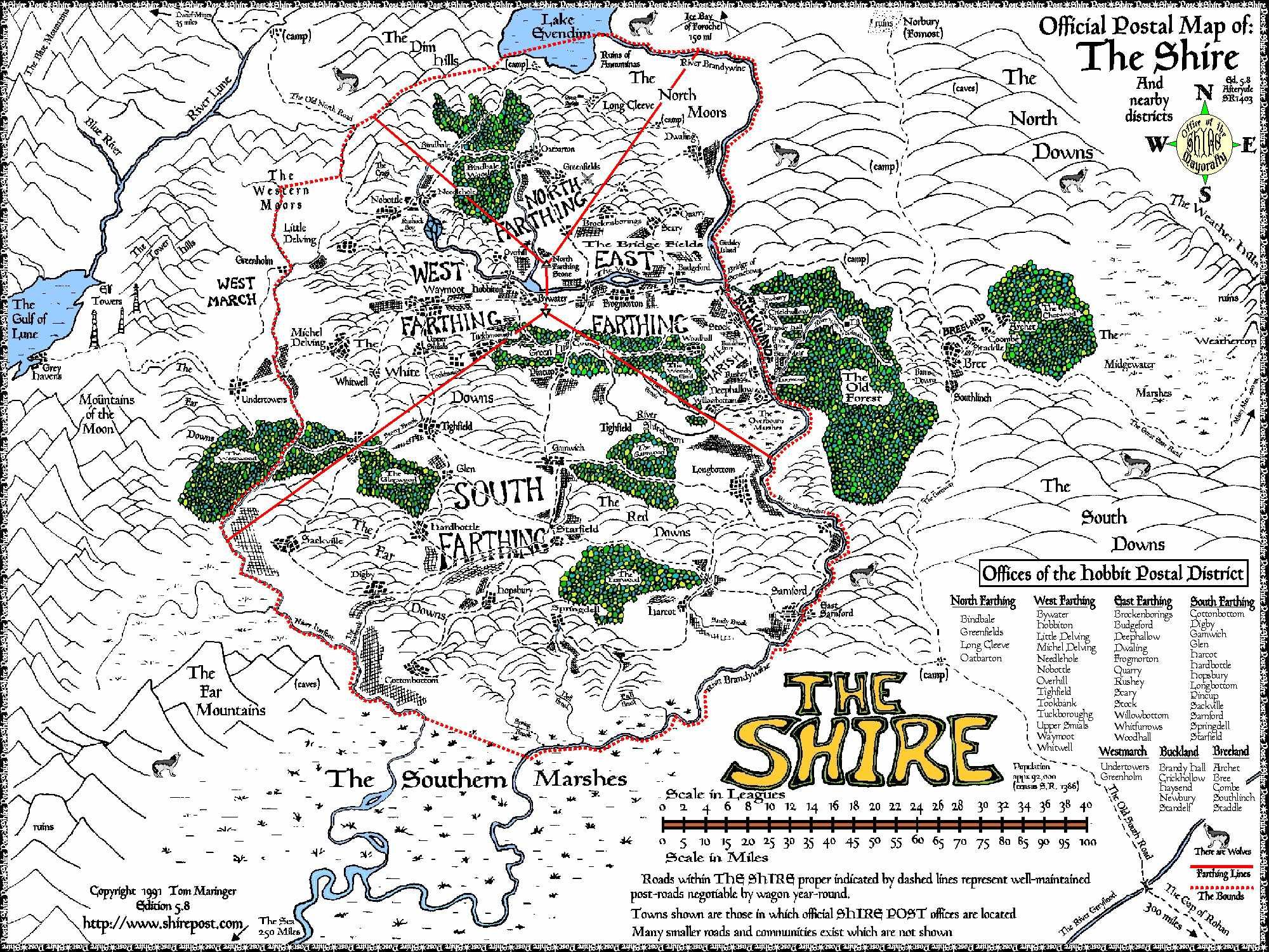 Map Of The Shire Shire Post Detailed map of the Hobbit Postal District. by Tom