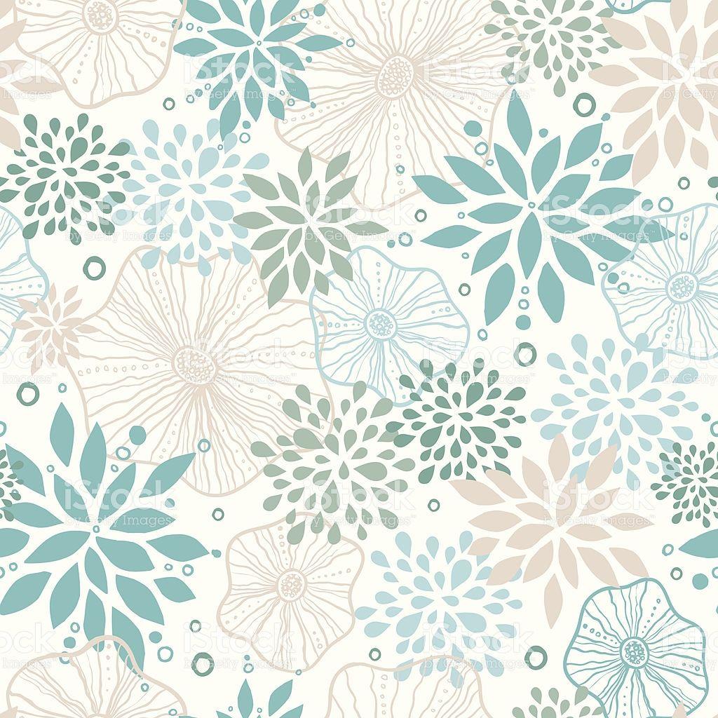 ブルーとグレイの植物のシームレスなパターン背景 ロイヤリティフリーの
