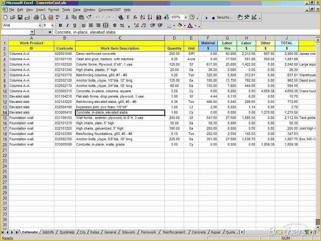Concrete Estimate Template Free Of Download Free Concretecost Estimator For Excel Estimate Template Excel Templates Business Business Plan Template Free excel cost estimate template