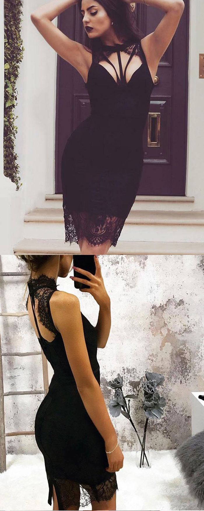 High neck cutout lace black tight party dress hd in