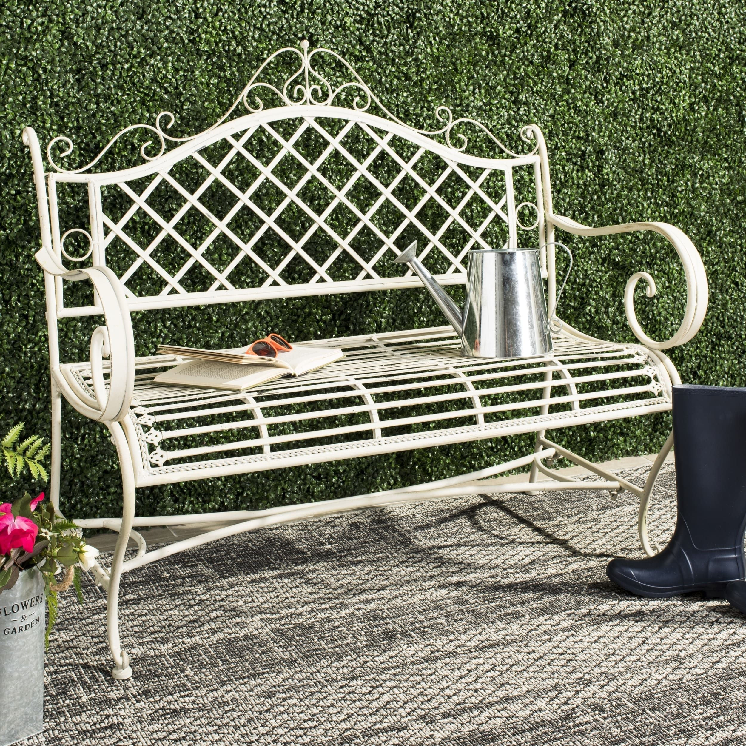 Safavieh Outdoor Living Abner White Wrought Iron Garden Bench  (45.75 Inches) (PAT5017A