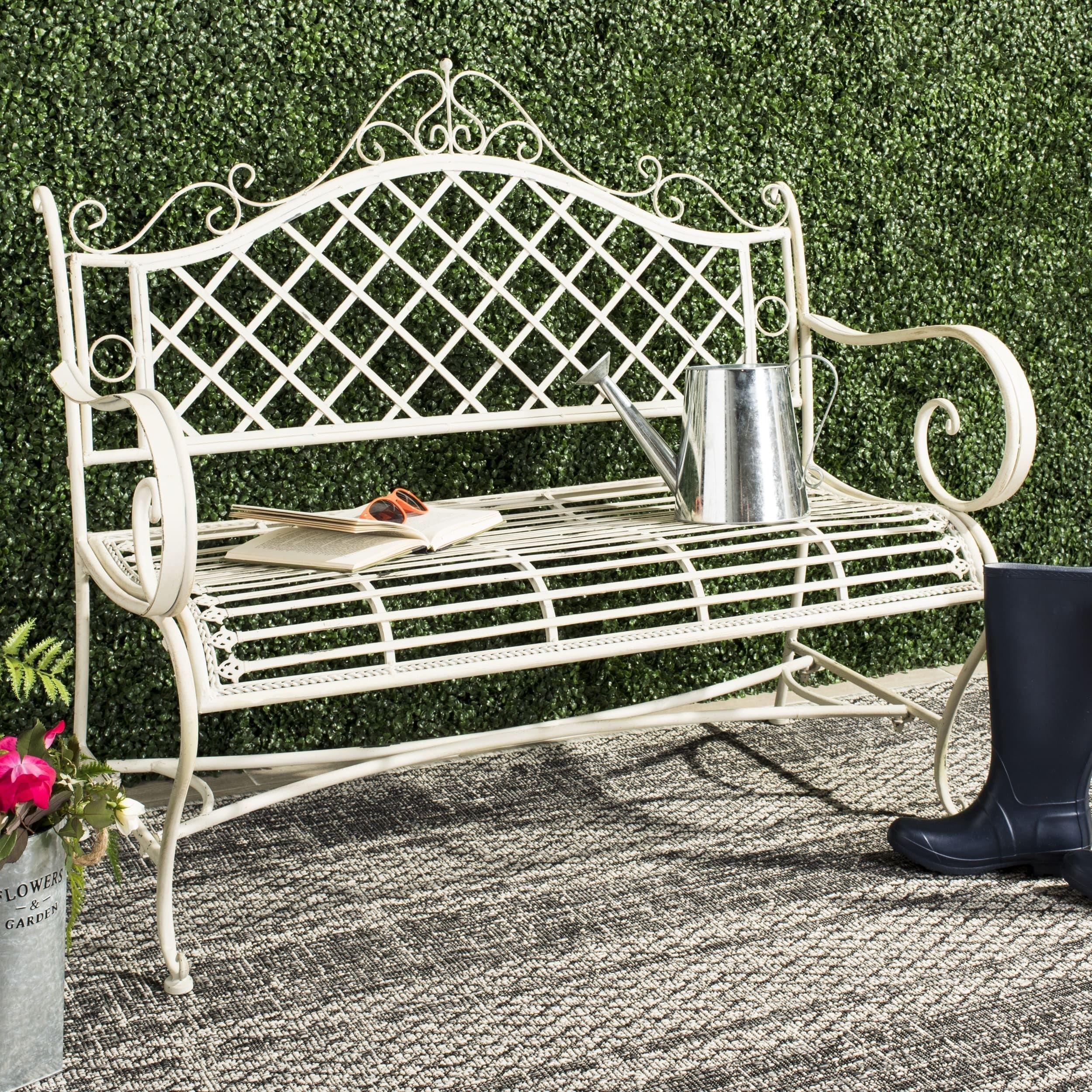 Safavieh Outdoor Living Abner White Wrought Iron Garden Bench