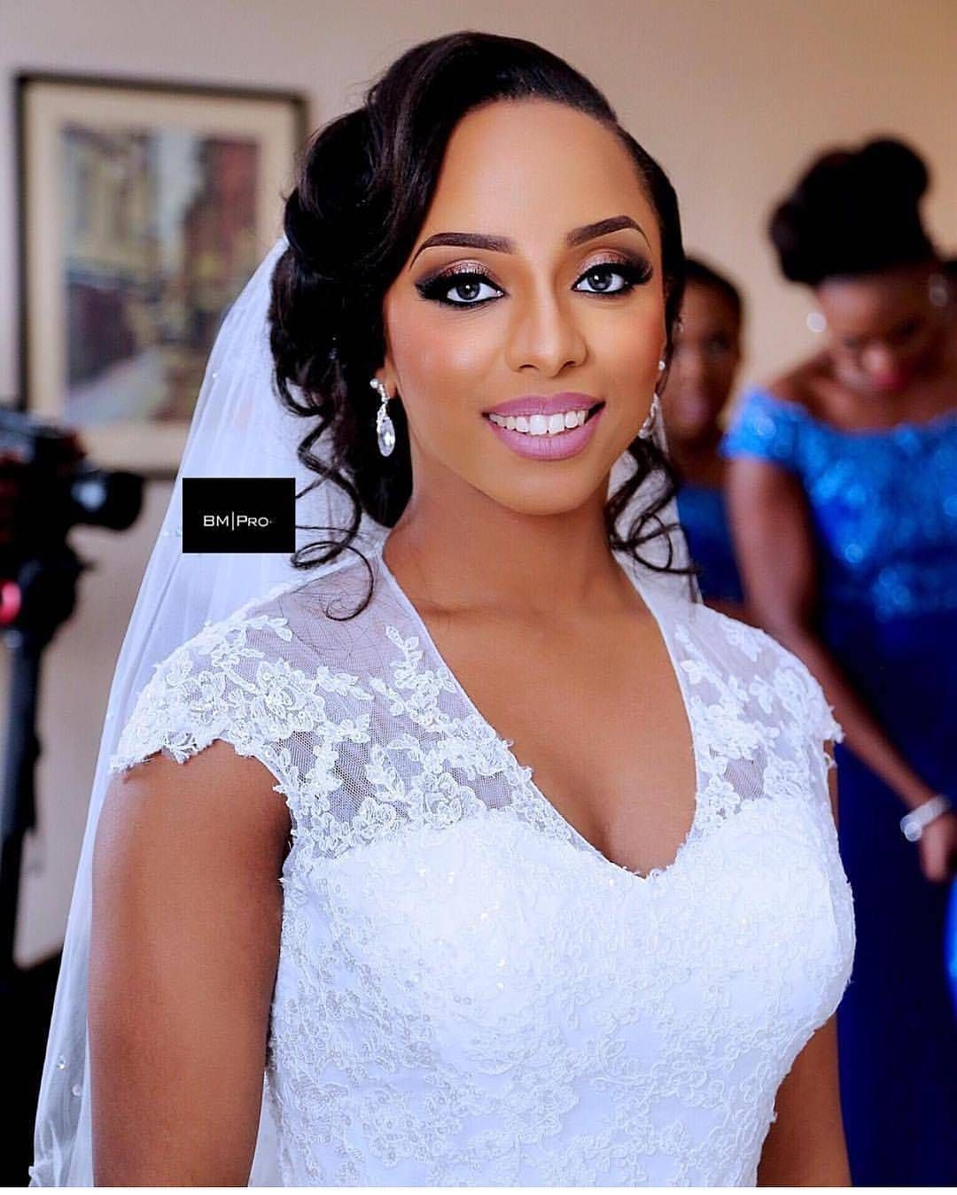 Wedding Hairstyle And Makeup: Such A Beauty! Makeup By @banksbmpro #whitewedding #dress