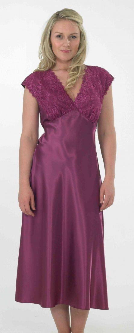 afad4ce6dded2 Indigo Sky Satin & Lace Nightdress - Grape | Silk and satin long ...
