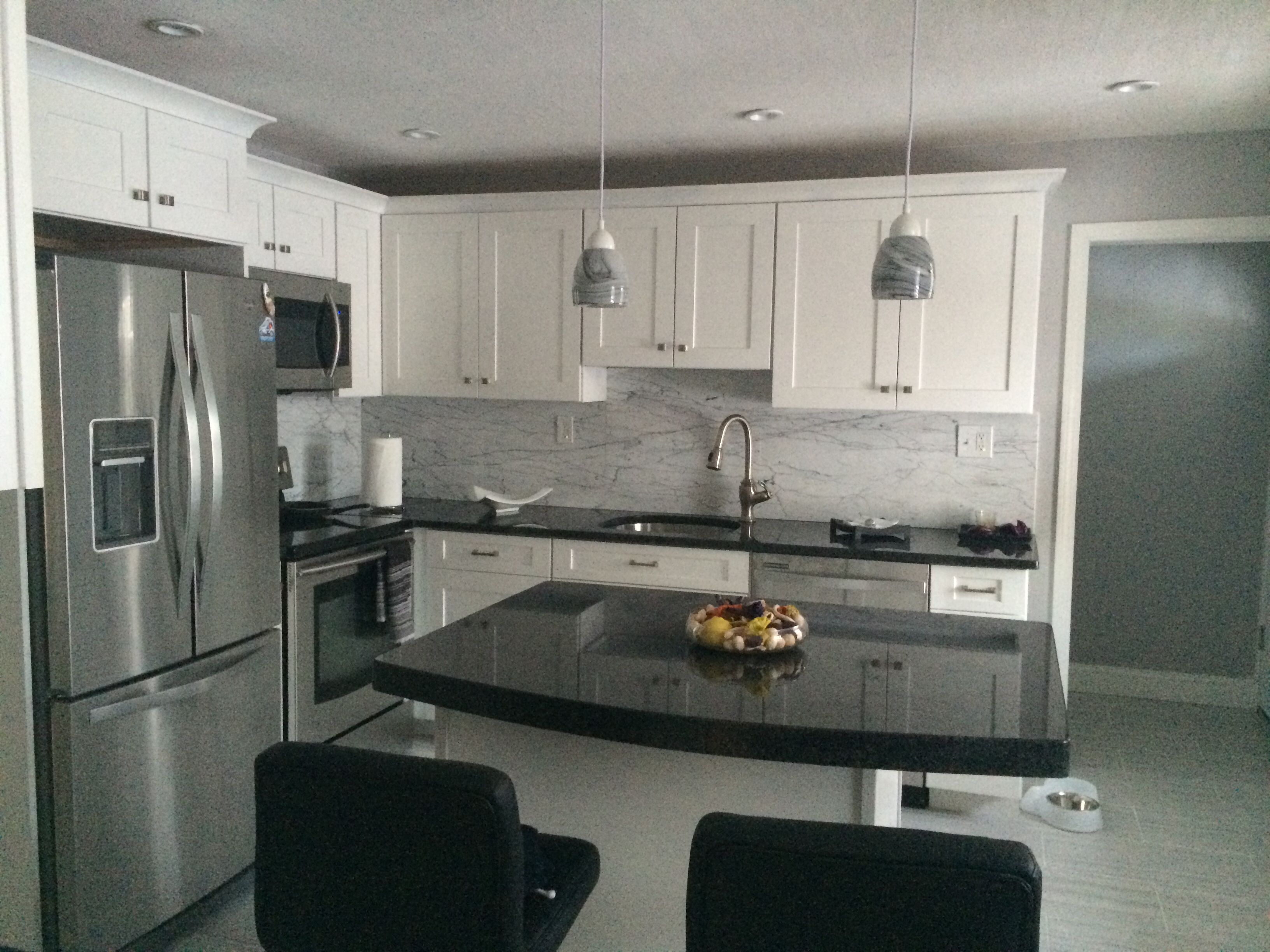 White cabinets with Angola Black granite counters | Future house ...