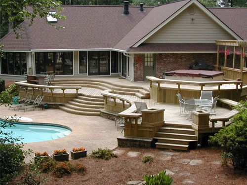 ideas for deck designs decks with steps from door cantilever patios umbrella retailer - Ideas For Deck Designs