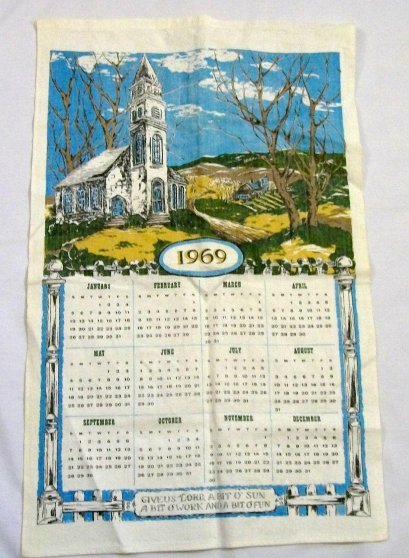 Vintage Calendar Towel Tea Towel 1969 Calendar Tea Towel White