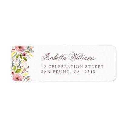 Watercolor Roses  Leaves Wedding Label Wedding labels, Weddings