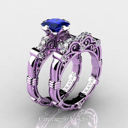 ff2b60e5f Art Masters Caravaggio 14K Lilac Gold 1.25 Ct Princess Blue Sapphire Diamond  Engagement Ring Wedding Band Set R623PS-14KLGDBS