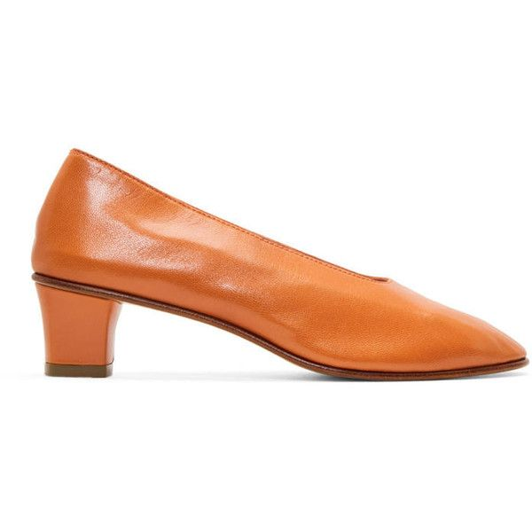 Martiniano Orange High Glove Heels (5 320 SEK) ❤ liked on Polyvore featuring shoes, pumps, orange, round toe shoes, rounded toe pumps, martiniano shoes, orange pumps and block heel court shoes