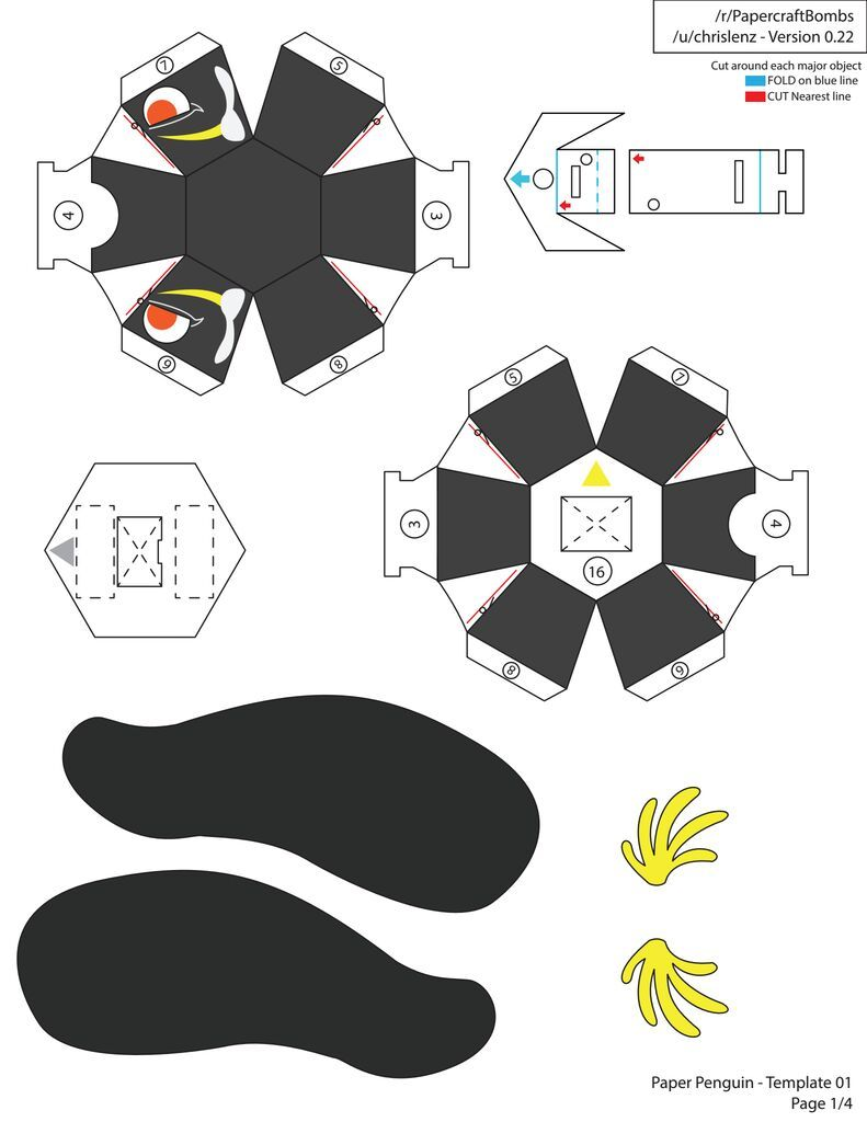 3d penguin paper toy shared with dropbox stuff to make for 3301