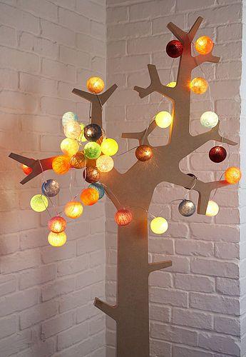 Cotton Ball fairy lights Fairy, Lights and Christmas tree