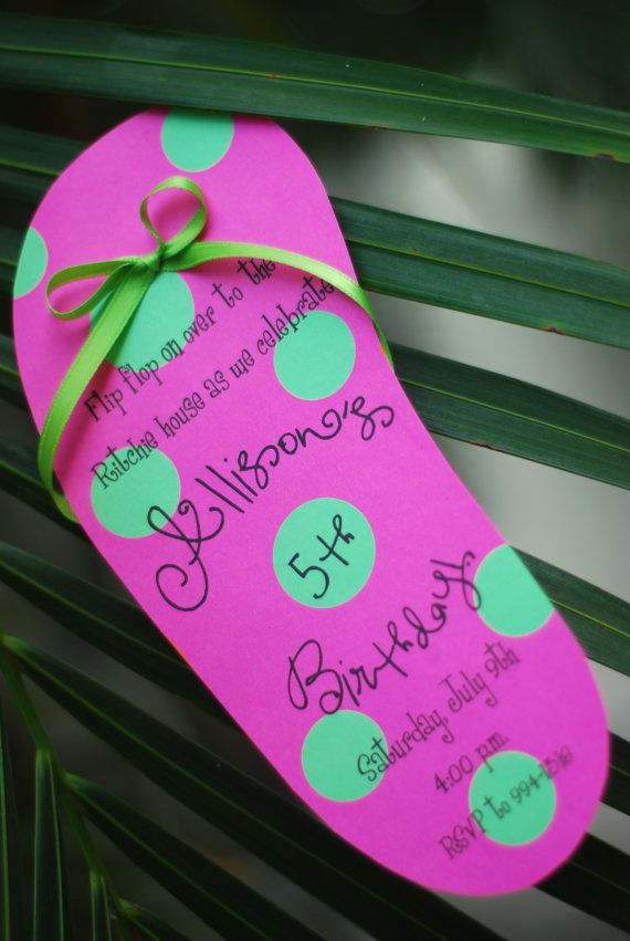 DIY Pool Party Luau Flip Flop birthday invitation | Einladungen ...