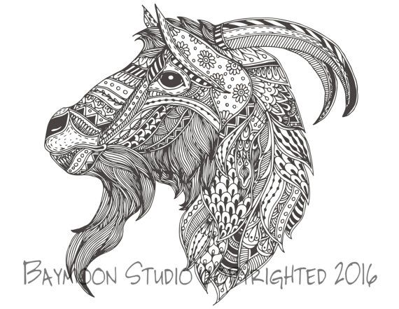 Goat Head Coloring Page Printable Pages Adult Hand Drawn Digital