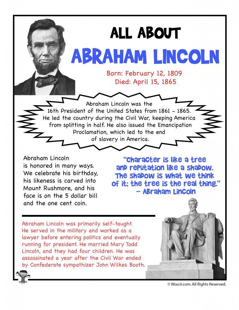 Abraham Lincoln Fact Sheet Printable Woo Jr Kids Activities In 2020 Abraham Lincoln Printables Abraham Lincoln For Kids Abraham Lincoln Facts