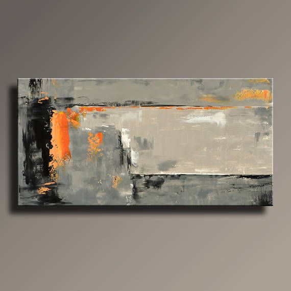 Abstract Painting Black Gray Orange Painting Large Modern Wall Art Original Contemporary Canvas Art Abstract Art Painting Original Canvas Art Abstract Painting