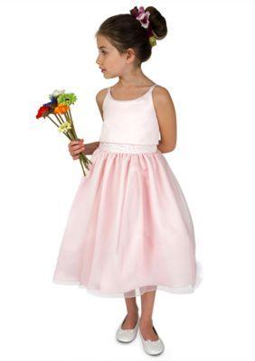 af445e6a65 Us Angels Blush Flower Girl Ballerina Length Sleeveless Satin Popover Bodice  With Beaded Waist And Full Skirt- Girls 7-16