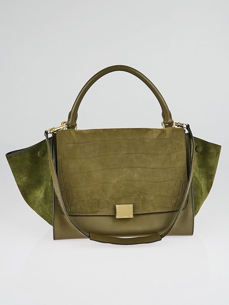 Celine Olive Green Crocodile Stamped Nubuck and Suede Leather Small Trapeze  Bag  Celine  EverydayBags 5f7bc1ac1c