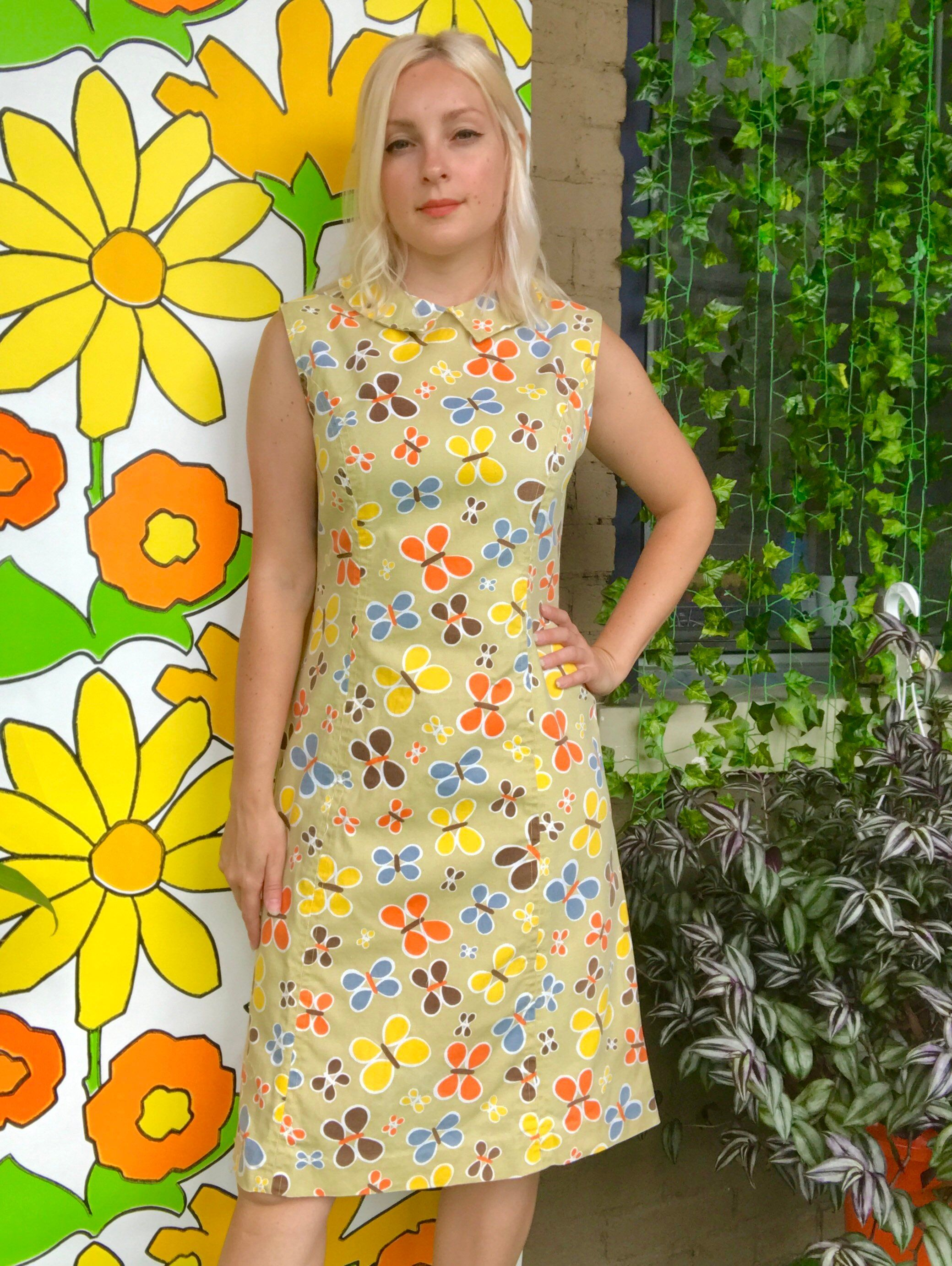 Vintage 1960s Butterfly Print Collared Sheath Dress Mod 60s Etsy Butterfly Print Dress Cotton Shift Dress Printed Prom Dresses [ 2765 x 2079 Pixel ]
