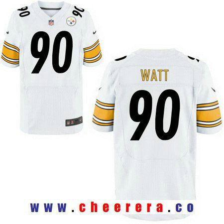 0bc6139ee20 Men s 2017 NFL Draft Pittsburgh Steelers  90 T. J. Watt White Road Stitched NFL  Nike Elite