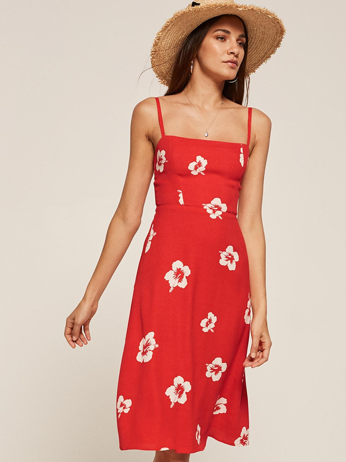 387b0172c473 Afternoon red floral square neck midi dress Reformation | what to ...