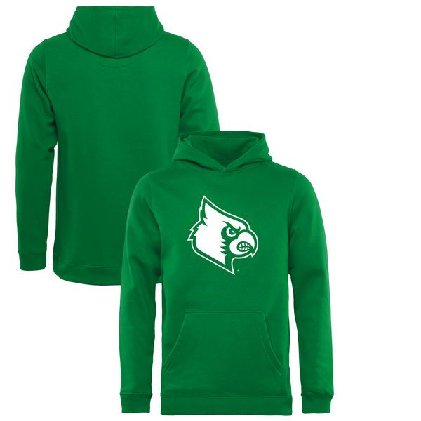 Louisville Cardinals Fanatics Branded Youth St. Patrick s Day White Logo  Pullover Hoodie - Kelly Green 3e3d9c3f2