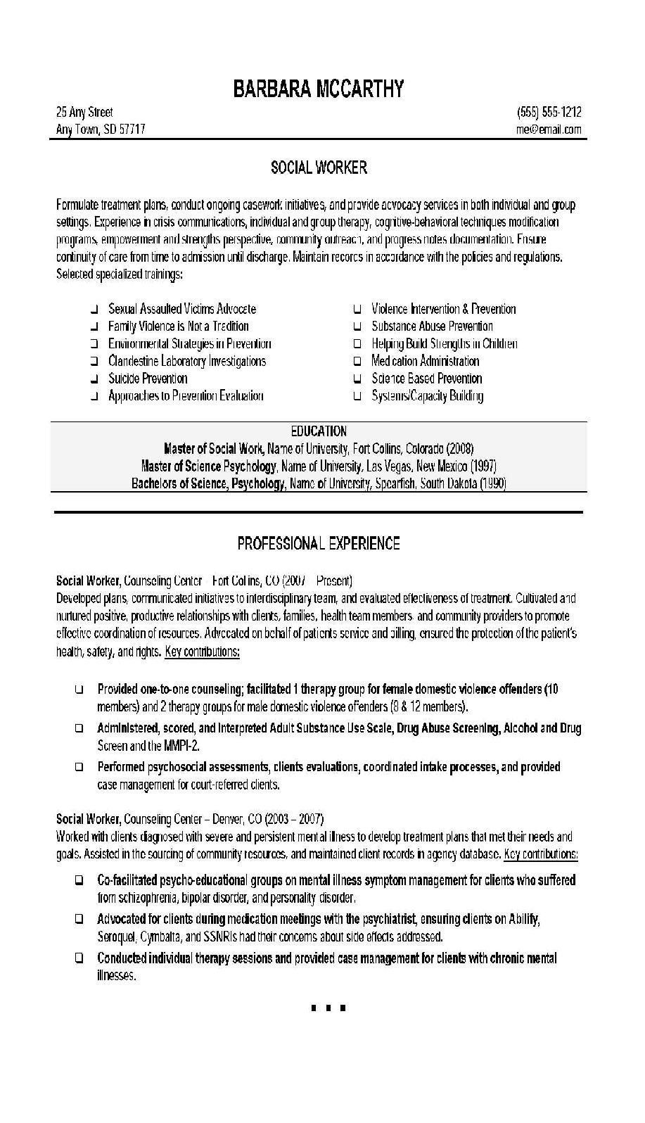 Resume for social Work original social Work Resume