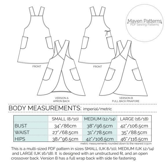 The Maria Wrap Apron PDF sewing pattern Japanese por mavenpatterns ...