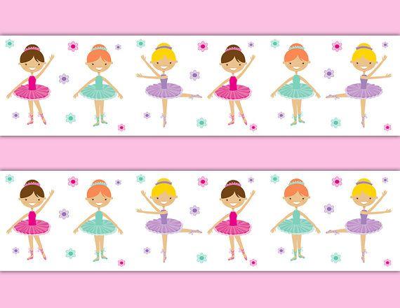 Dancing Ballerina Wallpaper Border Wall Decals For Baby Girl Nursery Or Children S Ballet Bedroom Dec Ballerina Wallpaper Decal Wall Art Girls Wallpaper Border