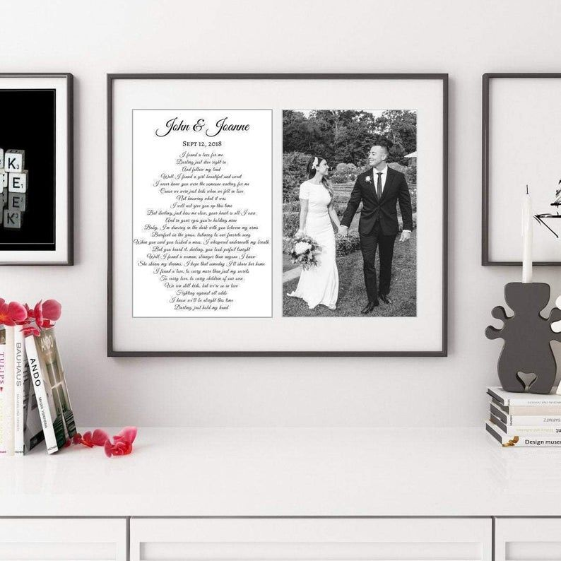 First dance song lyric print framed for first anniversary