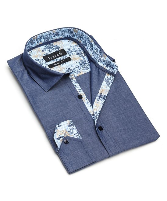 Blue Chambray & Floral Slim-Fit Button-Up