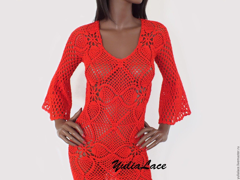 красное вязаное платье купить