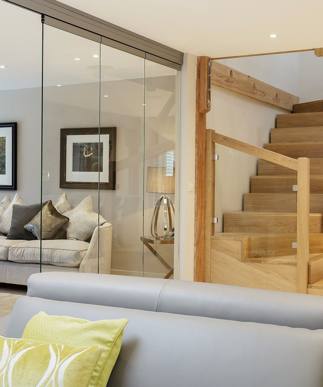 Timber Staircase With Modern Open Plan Living Space With Glass Doors White Wall With Timber Beams Modern House Bungalow Design Self Build Houses Timber House #open #stairs #in #living #room