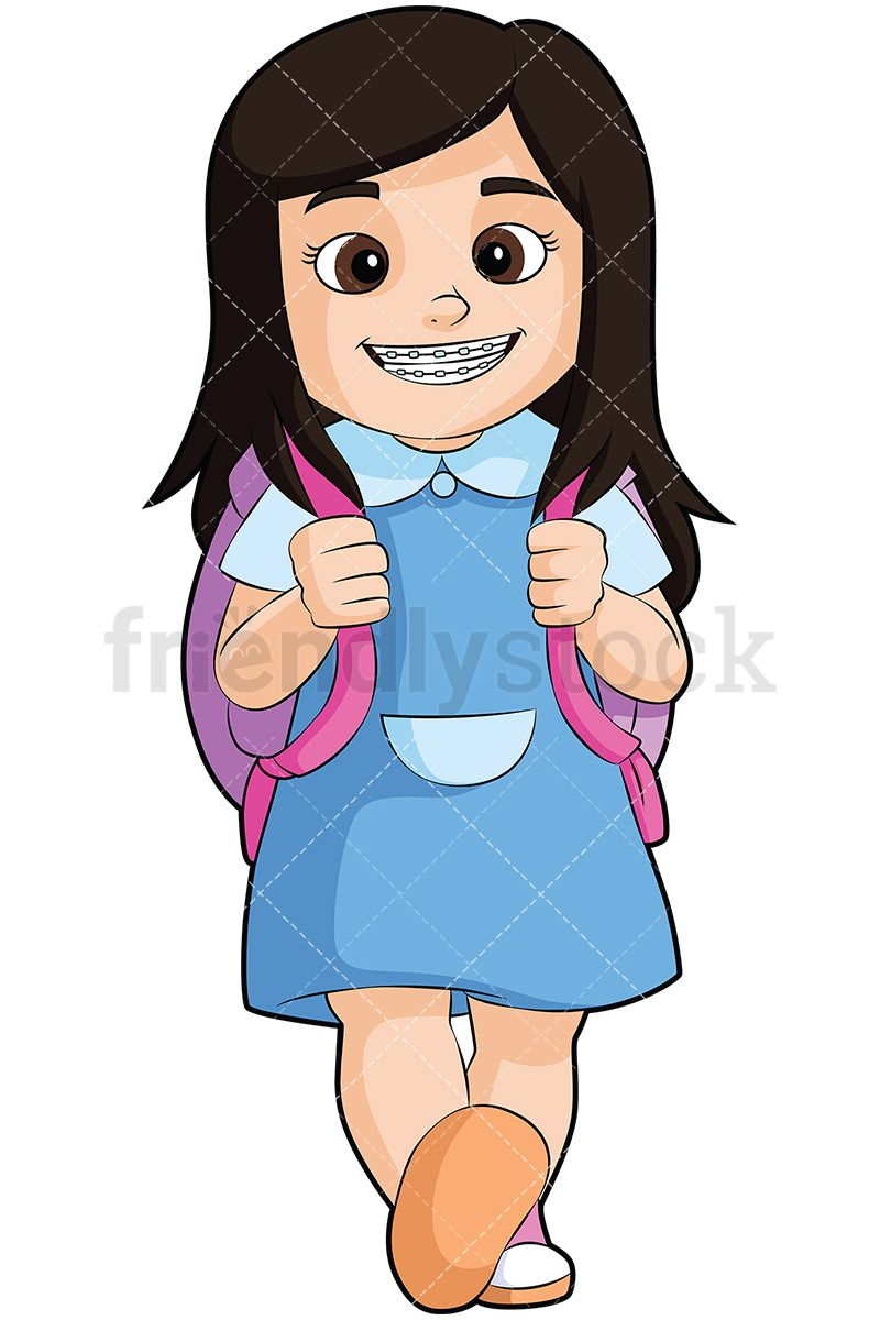 little girl with braces going to school vector cartoon clipart rh pinterest ph child going to school clipart boy going to school clipart black and white