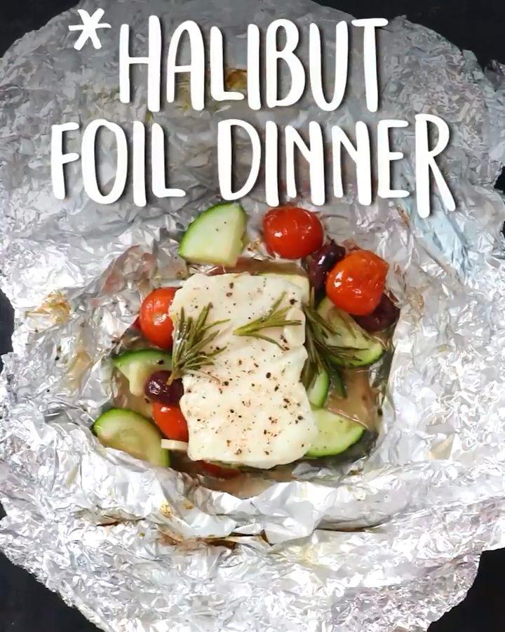 Abendessen mit Heilbuttfolie Abendessen mit Heilbuttfolie,